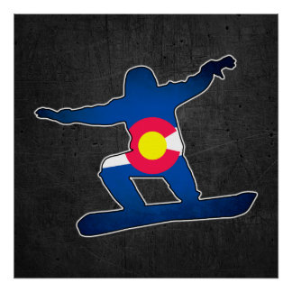 Colorado flag grunge snowboarder poster