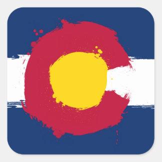 Colorado Flag Grunge Square Sticker