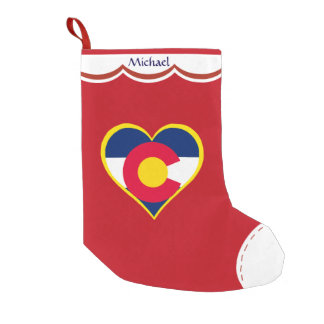 Colorado Flag Heart Personalized Small Christmas Stocking