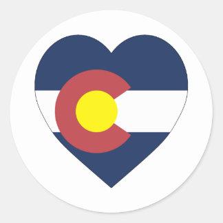 Colorado Flag Heart Round Sticker