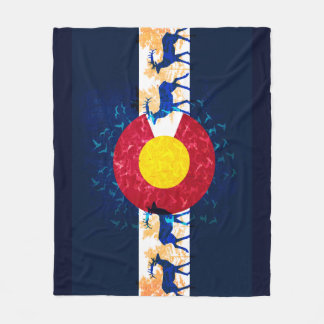 Colorado flag nature scene fleece blanket
