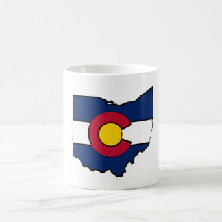 Colorado flag Ohio outline coffee mug cup