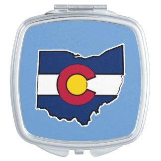 Colorado flag Ohio outline compact mirror