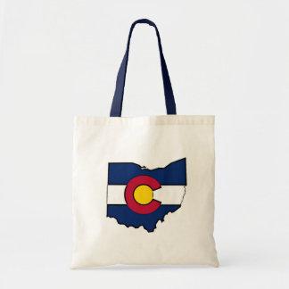 Colorado flag Ohio outline tote bag