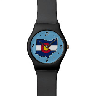 Colorado flag Ohio outline wrist watch