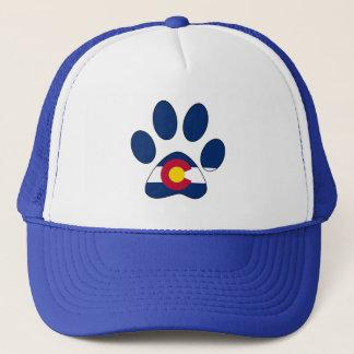 Colorado flag paw print trucker hat