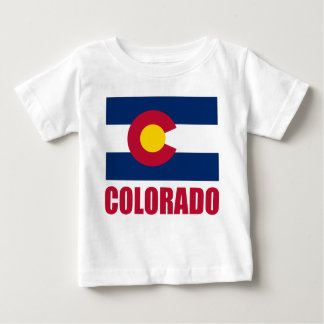 Colorado Flag Red Text Baby T-Shirt