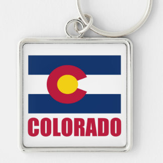 Colorado Flag Red Text Silver-Colored Square Key Ring