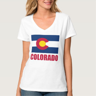 Colorado Flag Red Text Tees