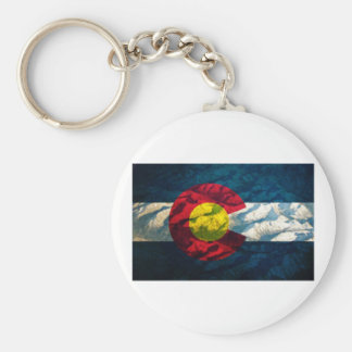 Colorado flag Rock Mountains Basic Round Button Key Ring