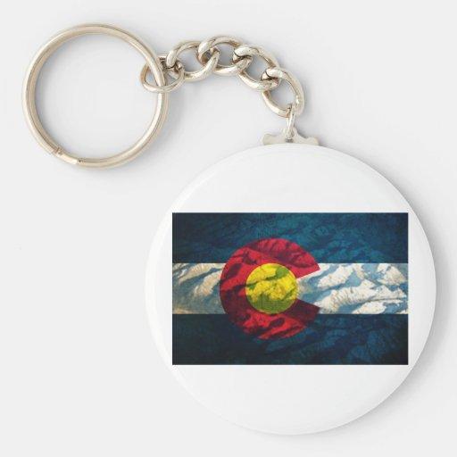 Colorado flag Rock Mountains Keychain