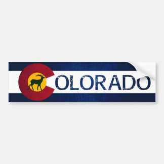Colorado flag rugged deer bumper sticker