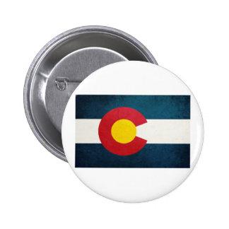 Colorado Flag Rustic Pinback Button