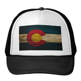 Colorado Flag Rustic Old Wood Trucker Hats
