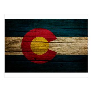 Colorado Flag Rustic Old Wood Postcard