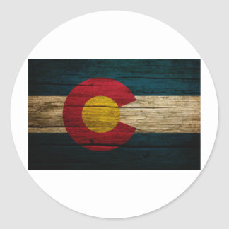 Colorado Flag Rustic Old Wood Round Sticker