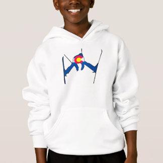 Colorado flag skier kids hoodie