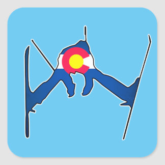 Colorado flag skier square stickers