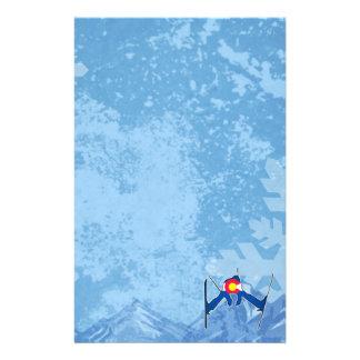 Colorado flag skier winter scene stationary stationery