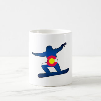 Colorado flag snowboarder coffee mug