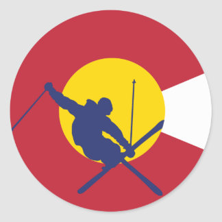 Colorado Flag Sticker - Skier - Iron Cross