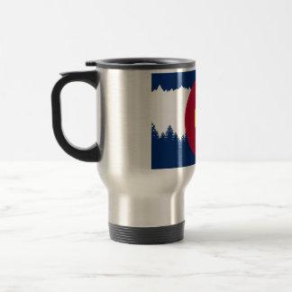 Colorado Flag Treeline Silhouette Travel Mug