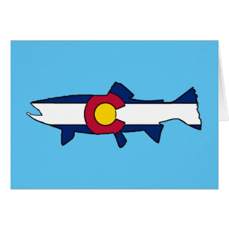 Colorado flag trout fish blank greeting card