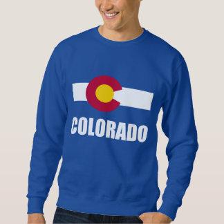 Colorado Flag White Text On Blue Sweatshirt