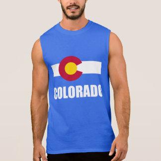 Colorado Flag White Text On Blue Sleeveless Tees