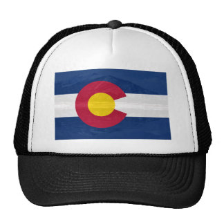 Colorado flag with mountain background trucker hat