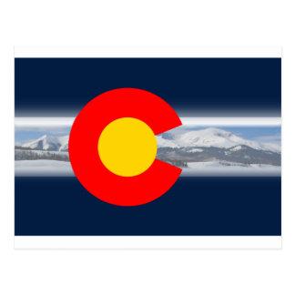 Colorado Flag with Mountains Postcard