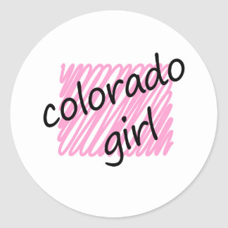 Colorado Girl with Scribbled Colorado Map Classic Round Sticker