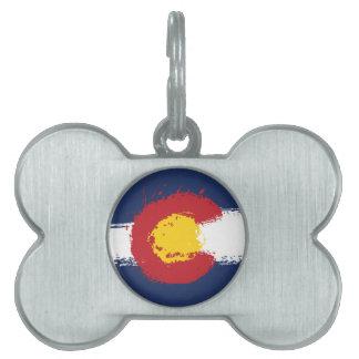 Colorado Grunge Flag Pet Name Tag
