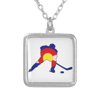 Colorado Hockey Player Silver Plated Necklace