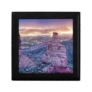 Colorado Independence Monument and City Lights Of Gift Box