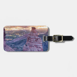Colorado Independence Monument and City Lights Of Luggage Tag