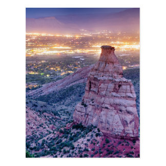 Colorado Independence Monument and City Lights Of Postcard