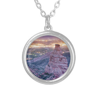 Colorado Independence Monument and City Lights Of Silver Plated Necklace