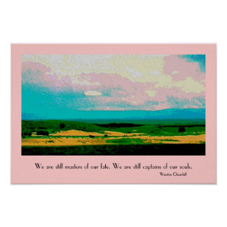 Colorado landscape with pink skies poster