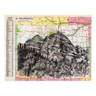 Colorado Map Art Postcard