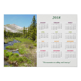 Colorado Mountains Calling 2018 Year Calendar Poster