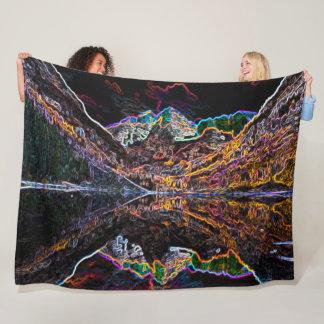 Colorado Mountains Neon Acrylic Art Fleece Blanket