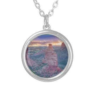 Colorado_National _Monument_City_Lights Silver Plated Necklace