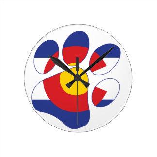 Colorado Pet Paw Round Clock