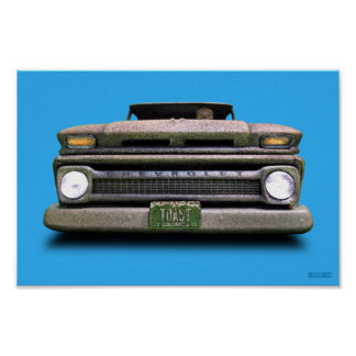 Colorado Pickup Truck Skull Toasted Autos Poster