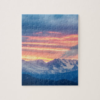 Colorado Rocky Mountain Sunset Waves Of Light Part Jigsaw Puzzle