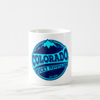 Colorado Rocky Mountains teal blue ink mug