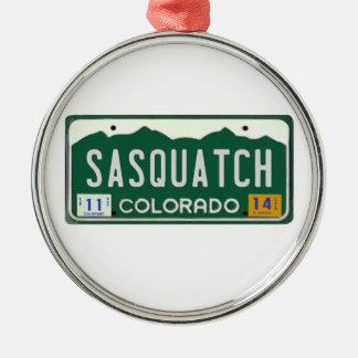 Colorado Sasquatch License Plate Metal Ornament