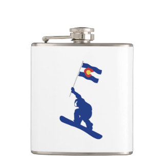 Colorado Snowboard Flag Hip Flask