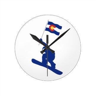 Colorado Snowboard Flag Round Clock